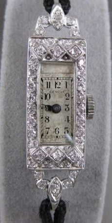ANTIQUE .60CTW OLD MINE EURO CUT DIAMOND PLATINUM GENEVE SWISS WATCH WORKS 20556