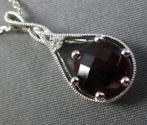 1.89CT DIAMOND & AAA GARNET 14KT WHITE GOLD TEAR DROP INFINITY FLOATING PENDANT