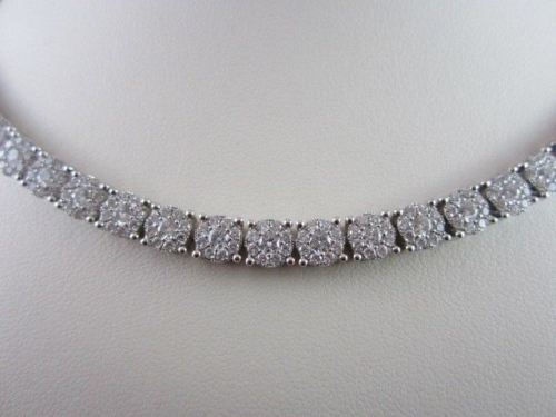 ANTIQUE 12.0CT WIDE 14KT WHITE ALL THE WAY AROUNG DIAMOND TENNIS NECKLACE