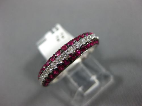 .97CT DIAMOND & AAA RUBY 14KT WHITE GOLD 3D 3 ROW SEMI ETERNITY ANNIVERSARY RING