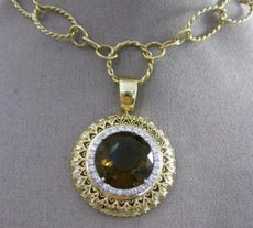 ESTATE LARGE 10.25CT DIAMOND SMOKEY TOPAZ 14KT WHTIE YELLOW GOLD LARIAT NECKLACE
