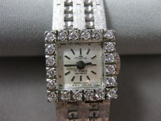 ANTIQUE .45CT OLD MINE DIAMOND 18KT WHITE GOLD FORTIS 17 JEWELS WATCH #18918