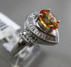 ESTATE 2.03CT DIAMOND & OVAL CITRINE 18K WHITE GOLD PEAR SHAPE ENGAGEMENT RING