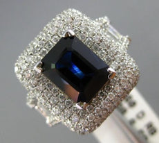 ESTATE LARGE 5.98CT DIAMOND & SAPPHIRE 18KT WHITE GOLD 3D SQUARE ENGAGEMENT RING