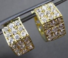 ESTATE 14KT YELLOW GOLD 3D 3 ROW CUBIC ZIRCONIA HEXAGON HUGGIE EARRINGS #24349