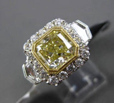 ESTATE LARGE 3.43CT GIA FANCY YELLOW DIAMOND 18KT TWO TONE GOLD ENGAGEMENT RING