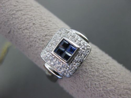 ESTATE WIDE .82CT DIAMOND & AAA SAPPHIRE 14KT WHITE GOLD 3D SQUARE RING #19474