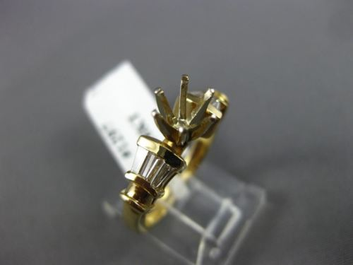 .44CT BAGUETTE DIAMOND 14KT YELLOW GOLD 3D ROUND SEMI MOUNT ENGAGEMENT RING 1297