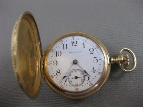ANTIQUE 14KT YELLOW GOLD WALTHAM HUNTERS POCKET WATCH ORIGINAL MOVEMENT #20774