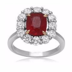 GIA CERTIFIED 4.57CT DIAMOND & AAA RUBY 18KT 2 TONE GOLD FLOWER ENGAGEMENT RING