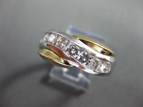 ESTATE 1.20CT DIAMOND 14KT TWO TONE GOLD DIAGONAL WAVE ANNIVERSARY RING #19620