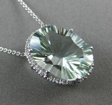 ESTATE LARGE 9.79CT DIAMOND & GREEN AMETHYST 14KT WHITE GOLD HALO OVAL NECKLACE