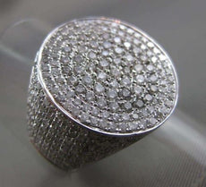 ESTATE EXTRA LARGE 2.08CT DIAMOND 14KT WHITE GOLD 3D PAVE OVAL HIP HOP MENS RING
