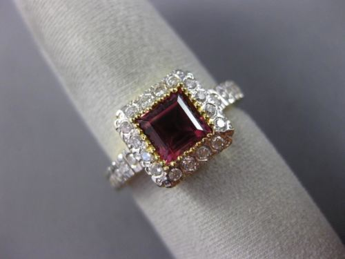 1.58CT DIAMOND & AAA SQUARE PINK TOPAZ 18KT YELLOW GOLD 3D HALO ENGAGEMENT RING