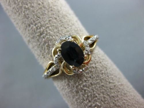 ESTATE 1.12CT DIAMOND & AAA SAPPHIRE 14KT 2 TONE GOLD 3D FLOWER ENGAGEMENT RING