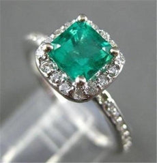 ESTATE 1.31CT AAA EMERALD & DIAMOND 14KT WHITE GOLD HALO ENGAGEMENT RING #22244
