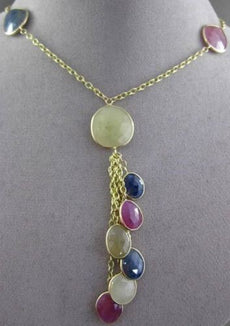 ANTIQUE 36.0CT EXTRA FACET MULTI COLOR SAPPHIRE 14KT YELLOW GOLD LARIAT NECKLACE
