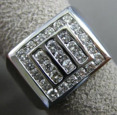 ESTATE LARGE 1.17CT DIAMOND 14K WHITE GOLD 3D SQUARE MULTI ROW CHANNEL MENS RING