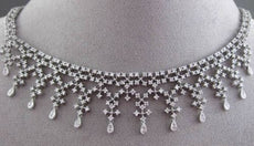 ESTATE WIDE 3.75CT ROUND DIAMOND 14KT WHITE GOLD FLOATING FILIGREE NECKLACE
