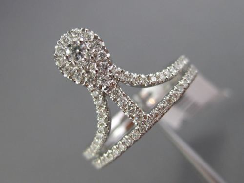 ESTATE WIDE .46CT DIAMOND 18K WHITE GOLD TEAR DROP CLUSTER TRIANGULAR CROWN RING