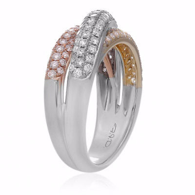 ESTATE WIDE .97CT DIAMOND 14KT TRI COLOR GOLD 3D MULTI ROW CRISS CROSS LOVE RING