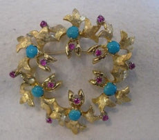 ANTQUE TURQUOISE RUBY 18K YELLOW GOLD FLORAL LEAF WREATH CIRCLE PIN BROOCH #1956