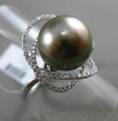 ESTATE LARGE .36CT DIAMOND 18KT WHITE GOLD AAA TAHITIAN PEARL OPEN FLOWER RING