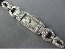 ANTIQUE LONG 1.50CT OLD MINE DIAMOND PLATINUM RECTANGULAR COCKTAIL WATCH #25497