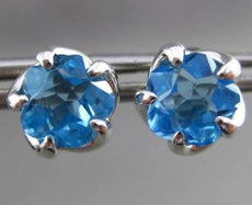 ESTATE LARGE 3.50CT EXTRA FACET BLUE TOPAZ 14KT WHITE GOLD FLOWER EARRINGS 23833