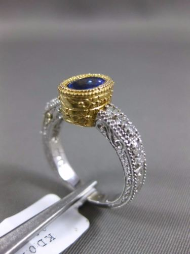 1.15CT DIAMOND & AAA OVAL TANZANITE 14KT 2 TONE GOLD 3D FILIGREE ENGAGEMENT RING