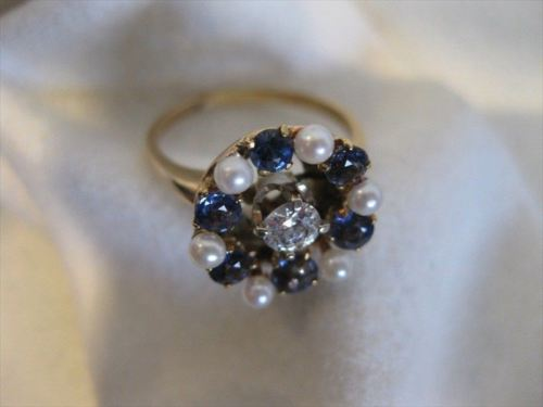 ANTIQUE 1.50CT OLD MINE DIAMOND AAA SAPPHIRE & PEARL 14K YELLOW GOLD 3D RING 815