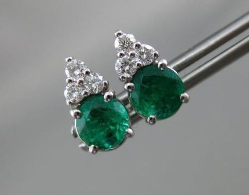 ANTIQUE 1.17CT DIAMOND & AAA EMERALD 14KT WHITE GOLD CLUSTER STUD EARRINGS #2107
