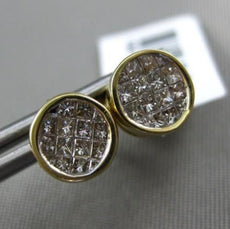 ESTATE .60CT DIAMOND 14KT YELLOW GOLD 3D INVISIBLE BEZEL ROUND STUD EARRINGS 7mm