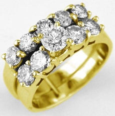 ESTATE 2.20CT DIAMOND 14KT YELLOW GOLD TWO ROW 5 STONE WEDDING ANNIVERSARY RING