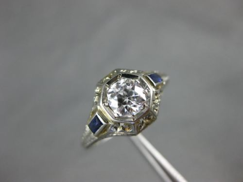 ANTIQUE 1.10CT OLD MINE DIAMOND & AAA SAPPHIRE 18K WHITE GOLD 3D ENGAGEMENT RING