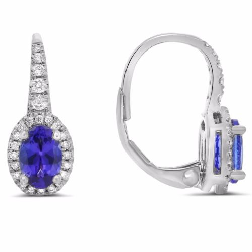 ESTATE 1.31CT DIAMOND & AAA TANZANITE 14KT WHITE GOLD OVAL HALO CLASSIC EARRINGS