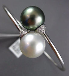 LARGE .20CT DIAMOND & TAHITIAN SOUTH SEA PEARL 18K WHITE GOLD 3D BANGLE BRACELET