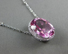 ESTATE LARGE 12.34CT DIAMOND & PINK TOPAZ 14KT WHITE GOLD 3D HALO OVAL NECKLACE