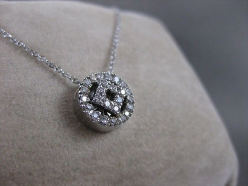 ESTATE DIAMOND 18K WHITE GOLD SQUARE IN CIRCLE PENDANT 11MM F/G VVS CHAIN #11343