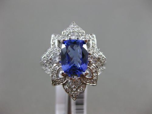 LARGE 2.46CT DIAMOND & AAA CUSHION CUT TANZANITE 14KT WHITE GOLD ENGAGEMENT RING