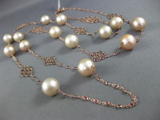 ESTATE LARGE & LONG AAA PINK SOUTH SEA PEARL & RHODOLITE 18KT ROSE GOLD NECKLACE