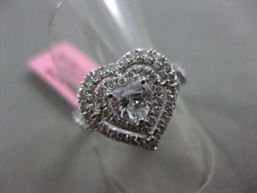 ESTATE 1.23CT ROUND & HEART DIAMOND 18KT WHITE GOLD HEART SHAPE DOUBLE HALO RING