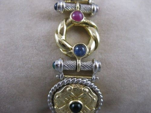 "LARGE WIDE ANTIQUE 7CTW RUBY SAPPHIRE EMERALD 14K GOLD BRACELET 7.50"" 20MM #524"