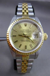 ROLEX OYSTER LADY- DATE JUST 18K YELLOW GOLD & STAINLESS STEEL WATCH & BOX #1833