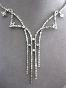 ESTATE LARGE 6.08CT DIAMOND 14KT WHITE GOLD SEMI STAR LARIAT COCKTAIL NECKLACE