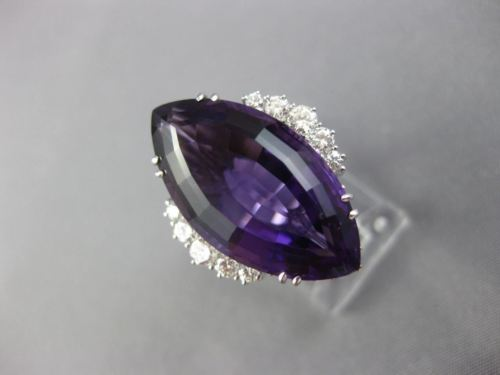 EXTRA LARGE 10.48CT DIAMOND & AMETHYST 18K WHITE GOLD 3D MARQUISE BALLERINA RING