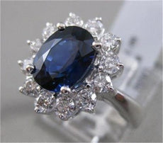 ESTATE 3.68CTW DIAMOND SAPPHIRE 14KT WHITE GOLD DIANA CLUSTER RING F/G VS