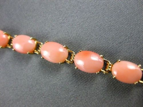 "ESTATE 14KT YELLOW GOLD AAA CORAL BRACELET 8.0"" LONG 5MM WIDE BEAUTIFUL! #22088"