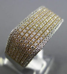 ESTATE WIDE 1.92CT DIAMOND 14KT TWO TONE GOLD MULTI ROW MICRO PAVE COCKTAIL RING