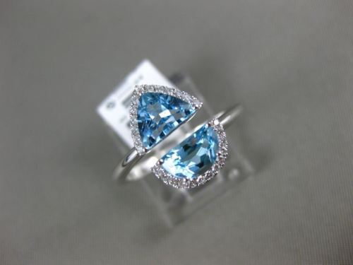 1.73CT DIAMOND & AAA BLUE TOPAZ 14K WHITE GOLD 3D TRILLION HALO CRISS CROSS RING